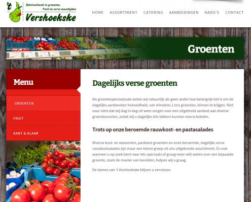 Website Vershoekske - groentenpagina